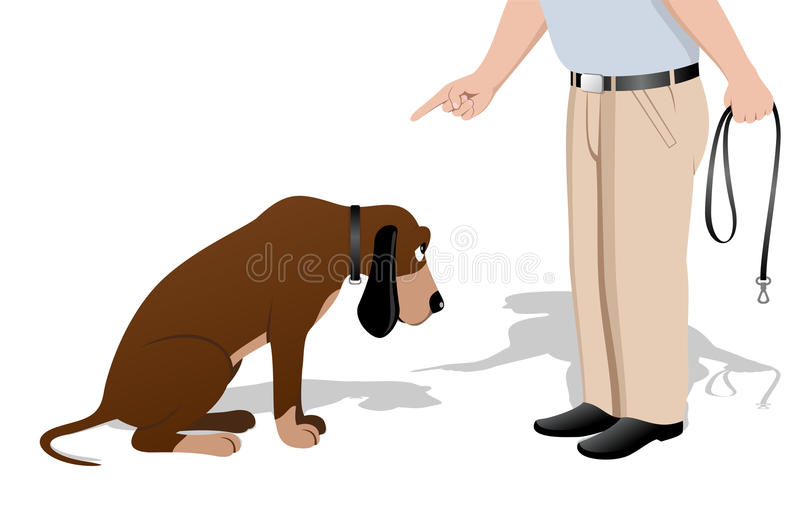 Schuldige hond stock illustratie