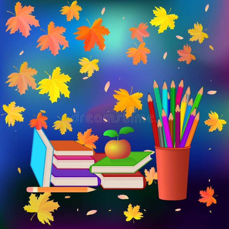 Schule eingestellt auf Herbsthintergrund Farbige Bleistifte im roten Cup Bücher mit Farbabdeckung Roter Apfel Herbstfarben 9 Plat vektor abbildung