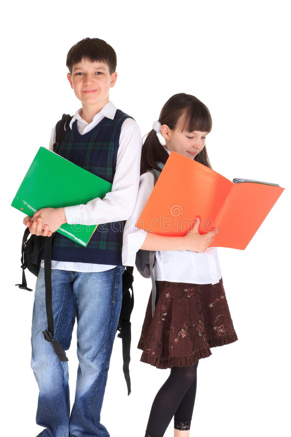 Schule-gehende Geschwister stockfotografie