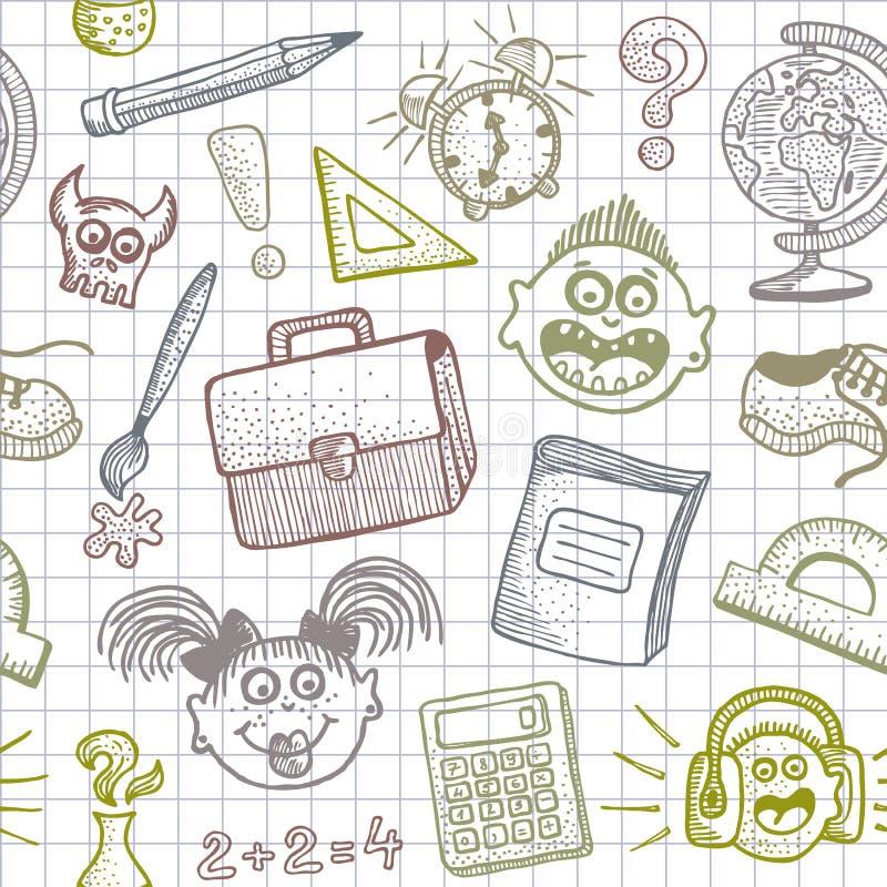 Schule kritzelt nahtlosen Hintergrund lizenzfreie abbildung