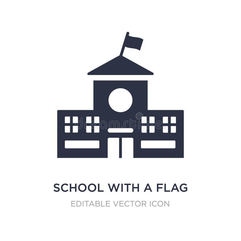 Schule mit einer Flaggenikone auf weißem Hintergrund Einfache Elementillustration vom Gebäudekonzept stock abbildung