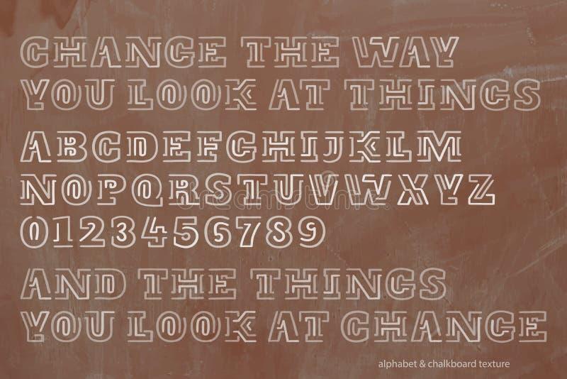 Schule, Retrostilalphabetbuchstaben und Zahlen über Tafelbeschaffenheit stock abbildung