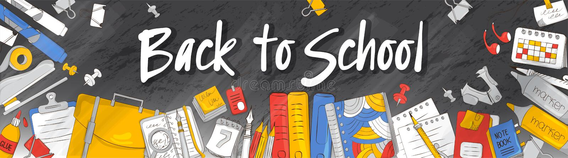 Schule und Ausbildung Das Konzept des Schulbedarfs Passend für Grafikdesign, Netzfahnen, Druck Vektorillustration auf stock abbildung