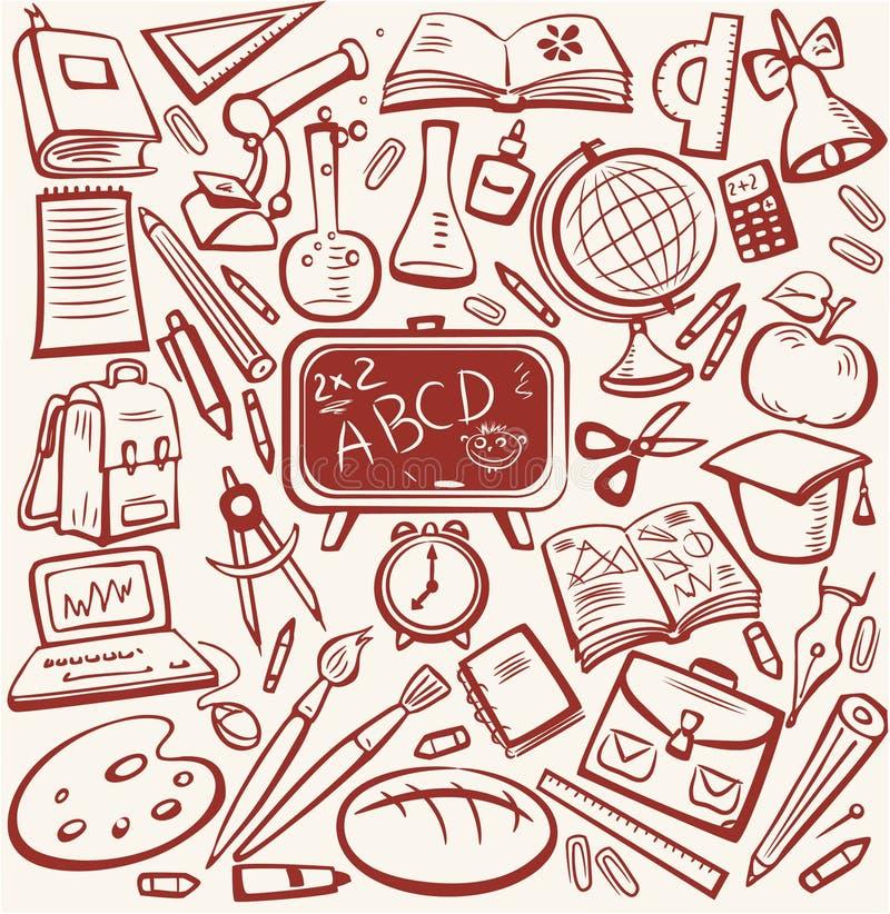 Schule und Ausbildungsskizzeset stock abbildung