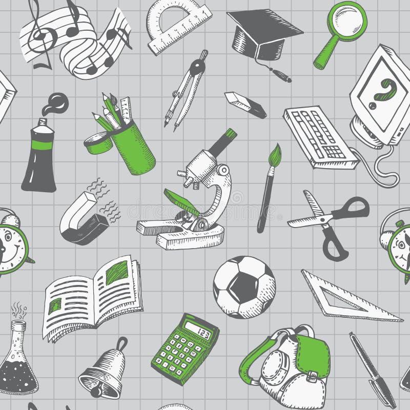 Schule und Ausbildungs-nahtloses Muster lizenzfreie abbildung