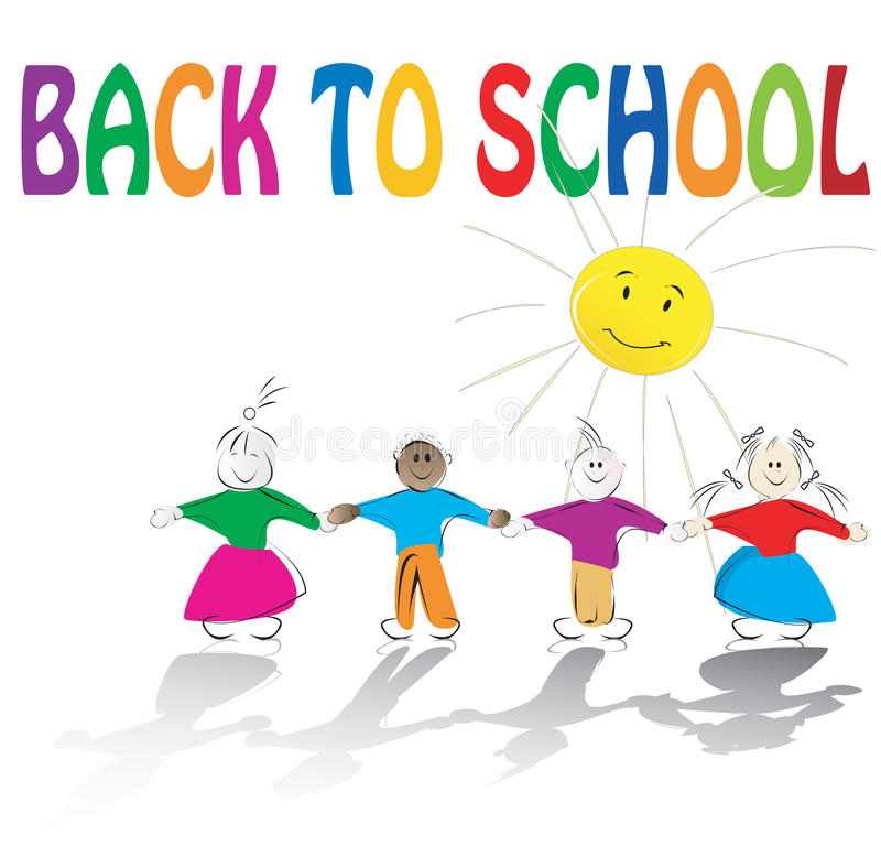 Schulekinder und Sonneabbildung stock abbildung