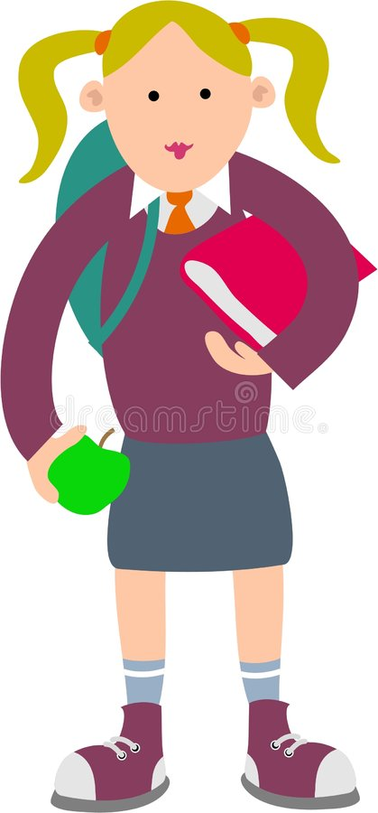 Schulemädchen lizenzfreie abbildung