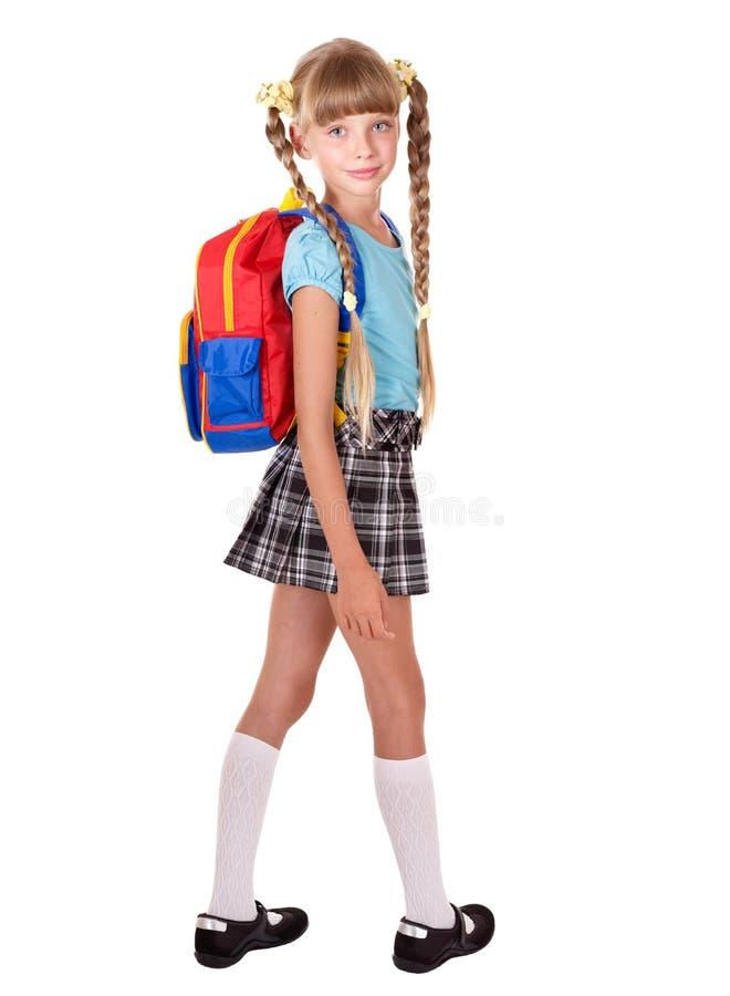 Schulemädchen in der Uniform mit Rucksack. lizenzfreie stockfotos