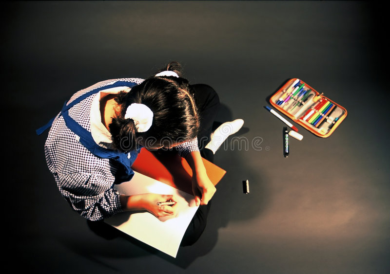 Download Schulemädchenlernen stockbild. Bild von messwert, geschichte - 45691