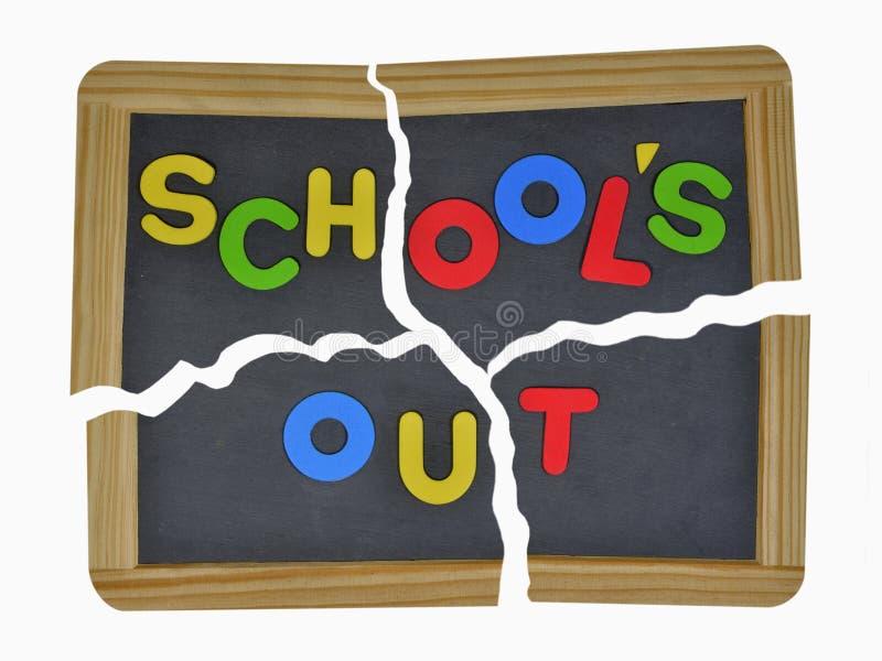 Schulen heraus auf defektem Schiefer stockfotografie