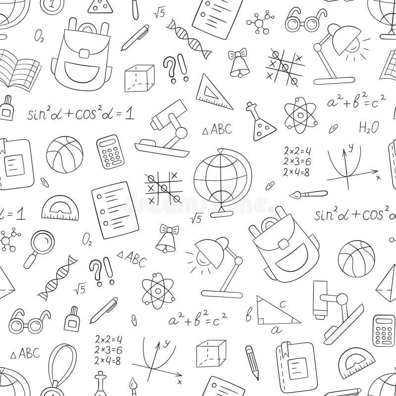 Schulen Sie nahtloses Muster in der Gekritzel- und Karikaturart linear Rebecca 6 Vektor stock abbildung