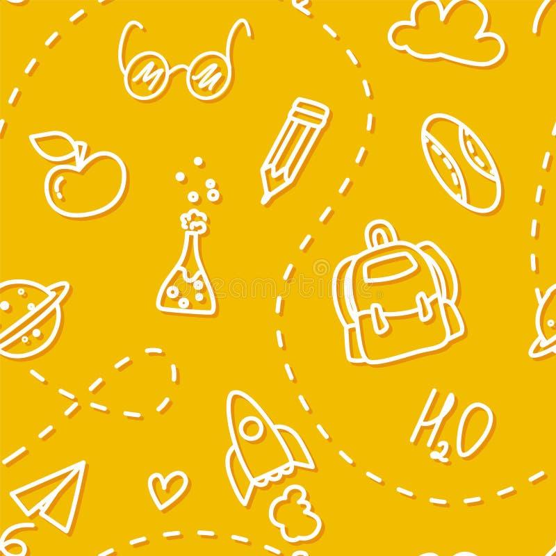 Schulen Sie nahtloses Muster mit Konturnikonen auf gelbem Hintergrund Dünne Linie flaches Design Vektor stock abbildung