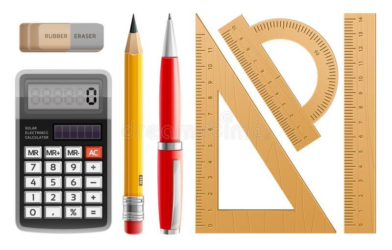 Schulen Sie Werkzeuge für das Lernen, Bleistift, Stift, Taschenrechner, Machthaber und Gummi lizenzfreie abbildung