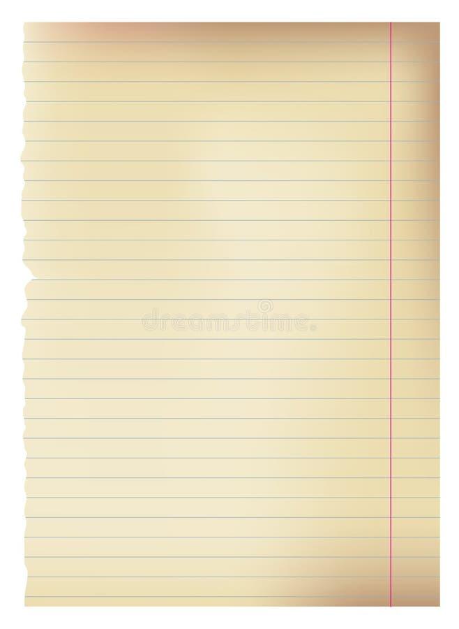 Schulepapierseite lizenzfreie abbildung