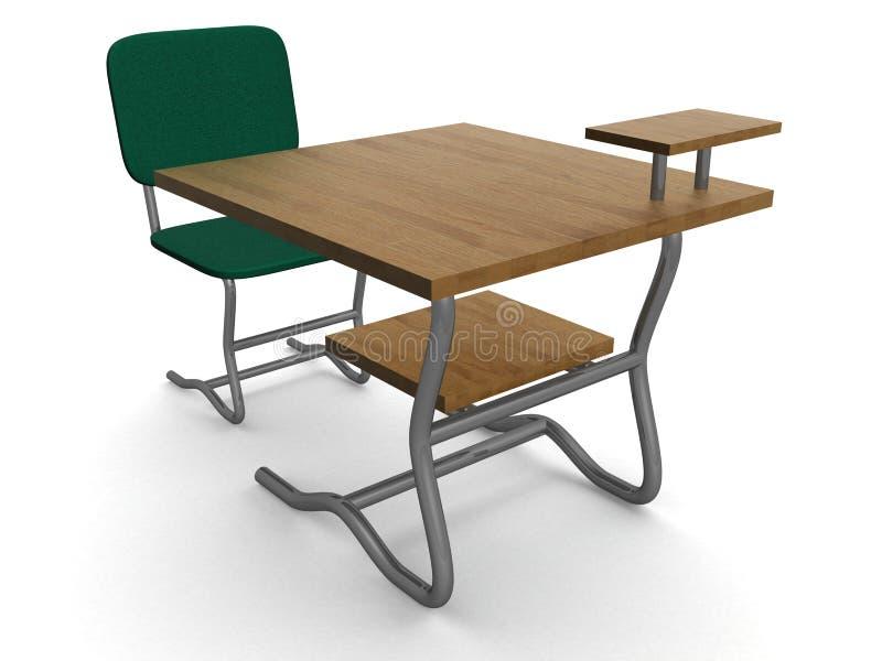 Schuleschreibtisch und -stuhl. stock abbildung