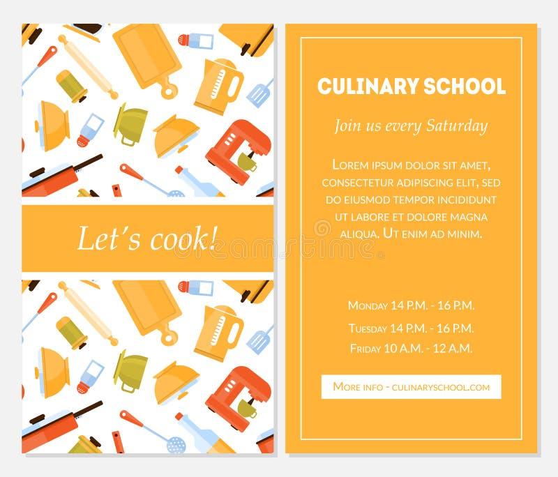 Schulfahnen-Schablone kochend, lässt Koch Invitation Card mit Platz für Text-und Küchen-Geräte für Lebensmittelzubereitung lizenzfreie abbildung