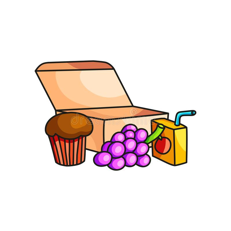 Schulfrühstück in eco Pappschachtel mit Trauben, Muffin und Saft lizenzfreie abbildung