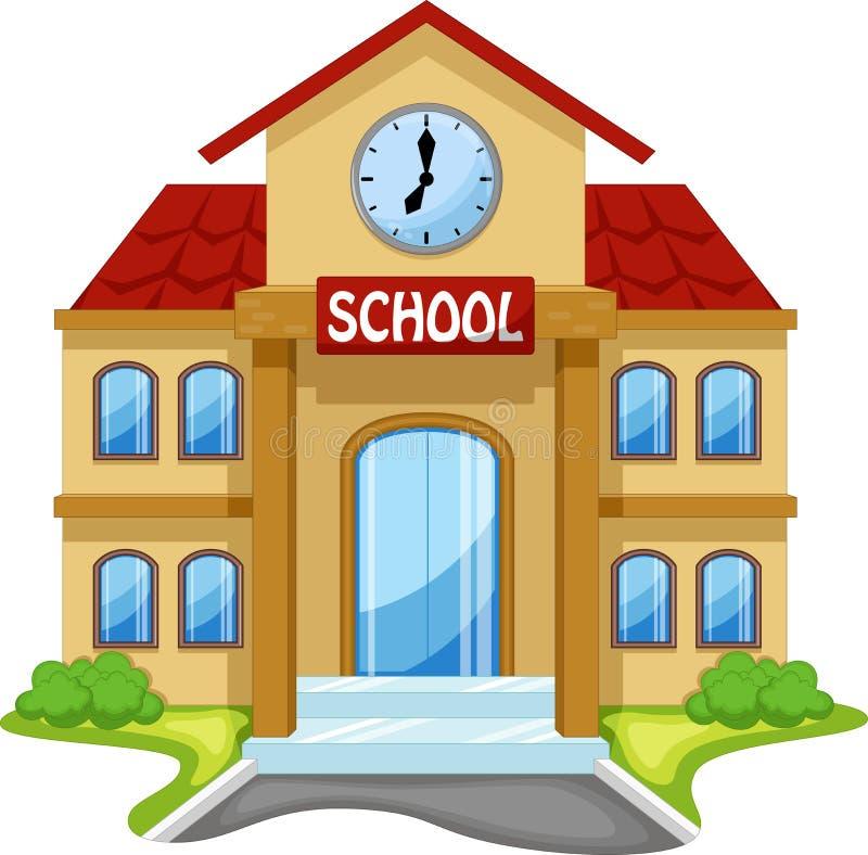 Schulgebäudekarikatur stock abbildung