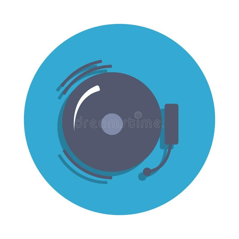 Schulglocke gefärbt in der blauen Ausweisikone Element der Schulikone für bewegliche Konzept und Netz apps Ausführliche Schulgloc stock abbildung