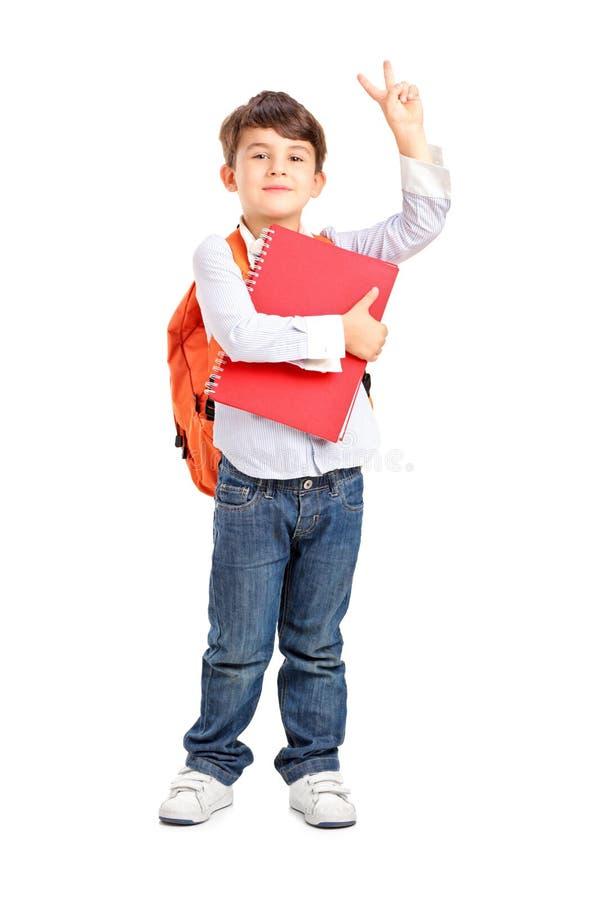 Schuljunge, der ein Notizbuch und ein Gestikulieren hält lizenzfreie stockbilder