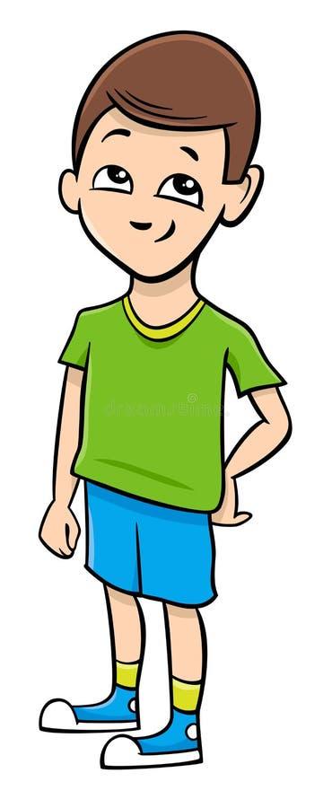 Schuljungen-Karikaturillustration lizenzfreie abbildung