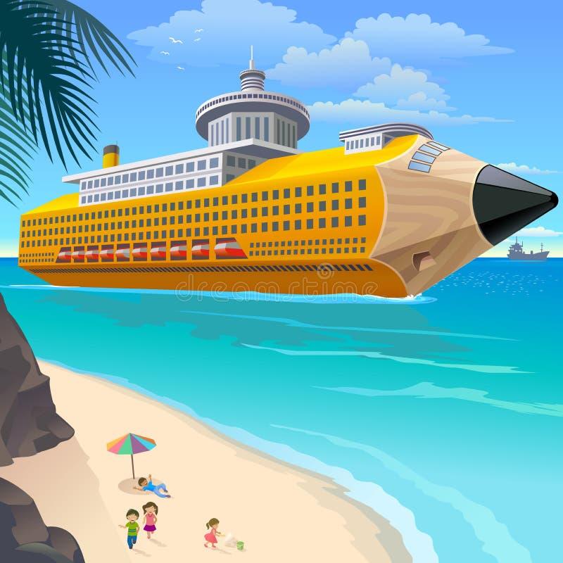 Schulkinder auf Strand-Wartebleistift-Reiseflug lizenzfreie abbildung