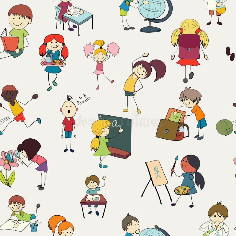 Schulkinder kritzeln nahtloses Muster lizenzfreie abbildung
