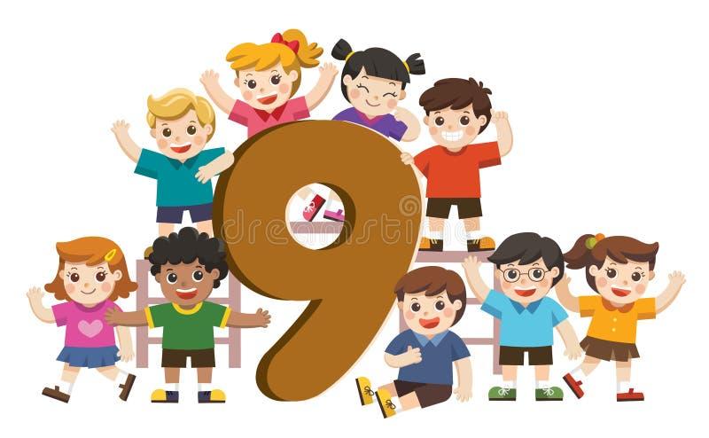 Schulkinder und bunte Nr. neun geformt vektor abbildung