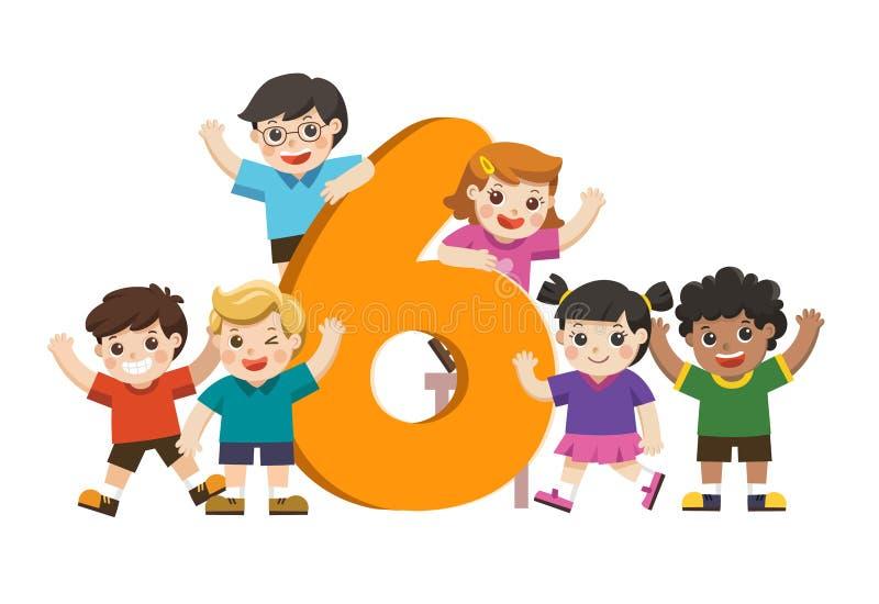 Schulkinder und bunte Nr. sechs geformt lizenzfreie abbildung