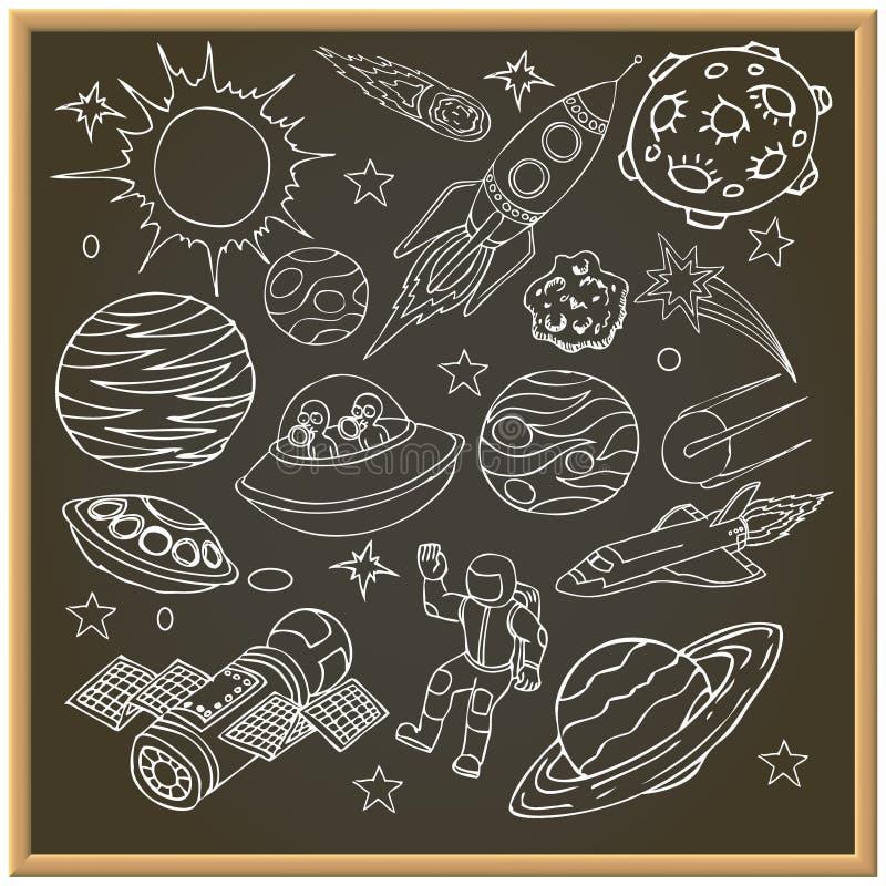 Schulkreidebrett mit Weltraumgekritzeln stock abbildung