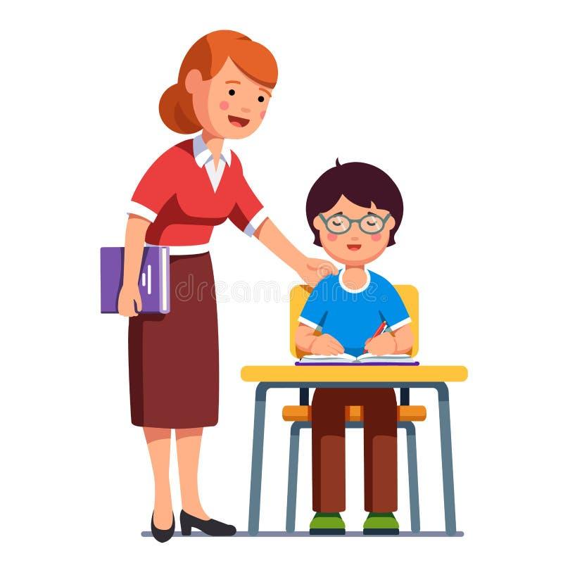 Schullehrer, der ihr Studentenjungenschreiben aufpasst lizenzfreie abbildung