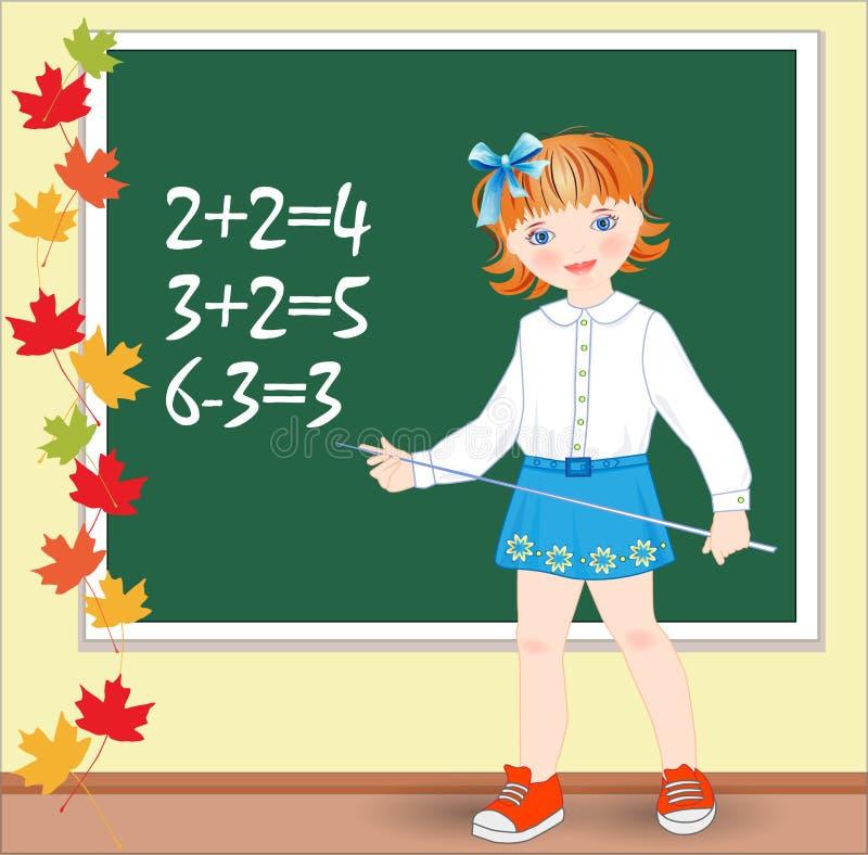 Download Schulmädchen Auf Der Lektion Von Mathematik. Stock Abbildung - Illustration von rückseite, blatt: 26361906