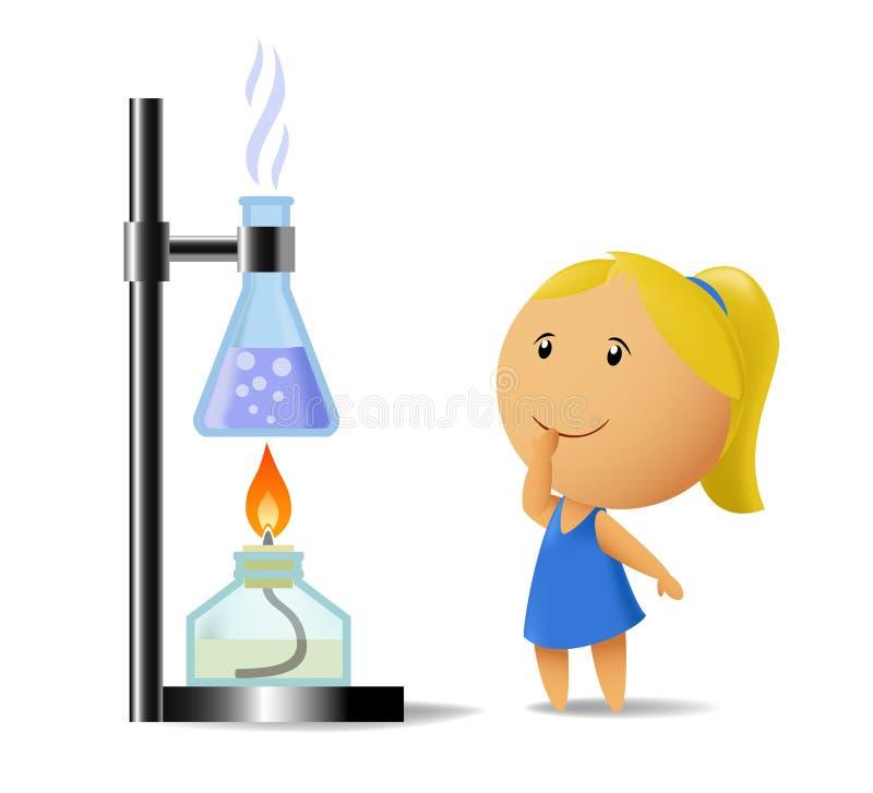 Schulmädchen, das auf Chemieprüfung überwacht vektor abbildung