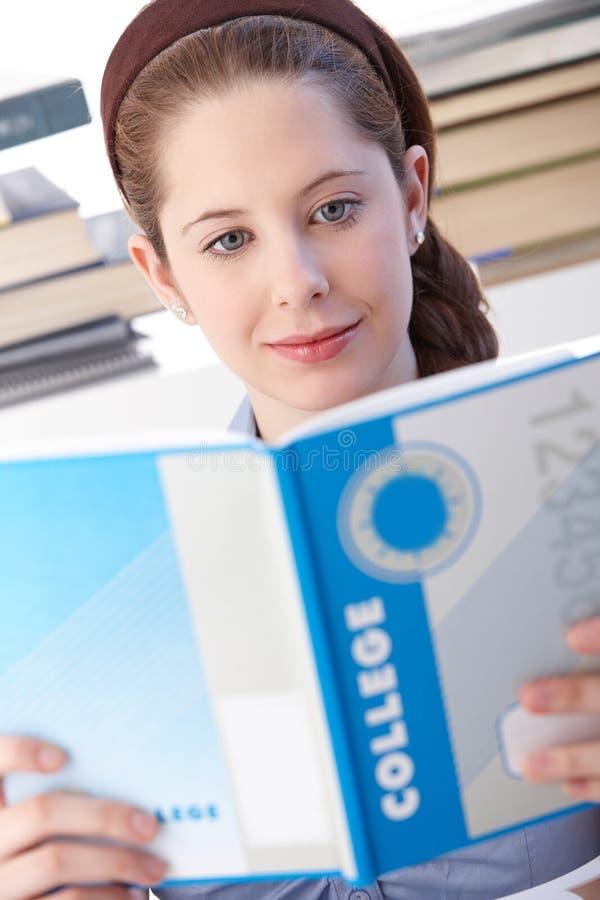 Schulmädchen, das zu Hause erlernt lizenzfreie stockfotos