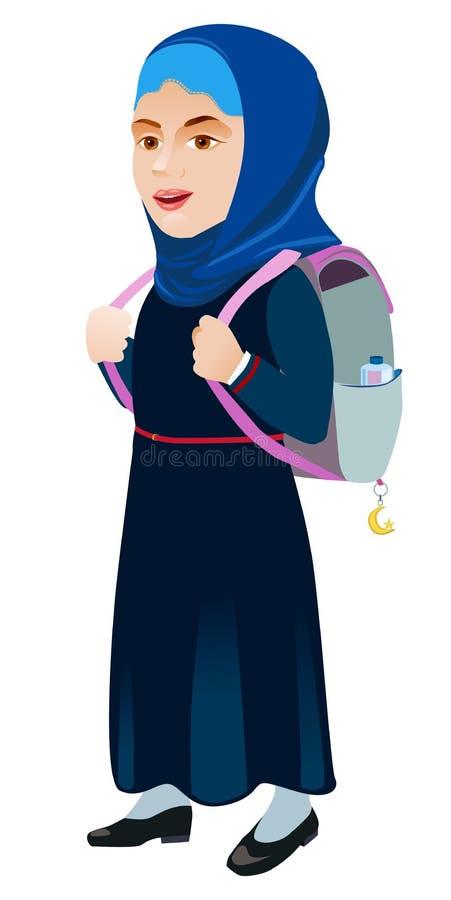 Schulmädchen mit Rucksack auf einem weißen Hintergrund stock abbildung