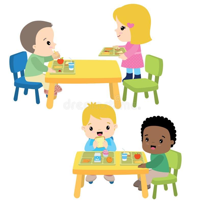 Schulmahlzeit-Cafeteria-Kinder, welche die Mittagessen-Vektor-Illustration lokalisiert auf Weiß essen vektor abbildung