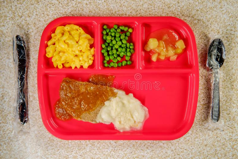 Schulmahlzeit Hamburger lizenzfreie stockbilder