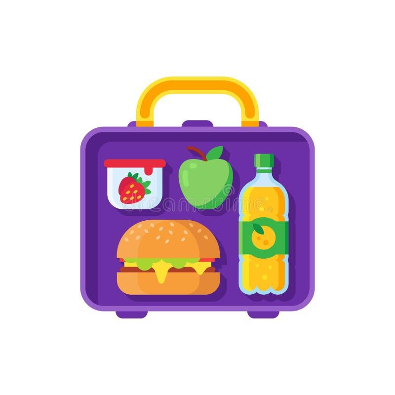 Schulmahlzeit im Lunchbox Gesundes Abendessen im Lebensmittelkasten Schulkindmahlzeit-Metalltasche mit Sandwich-, Apfel- und Snac stock abbildung