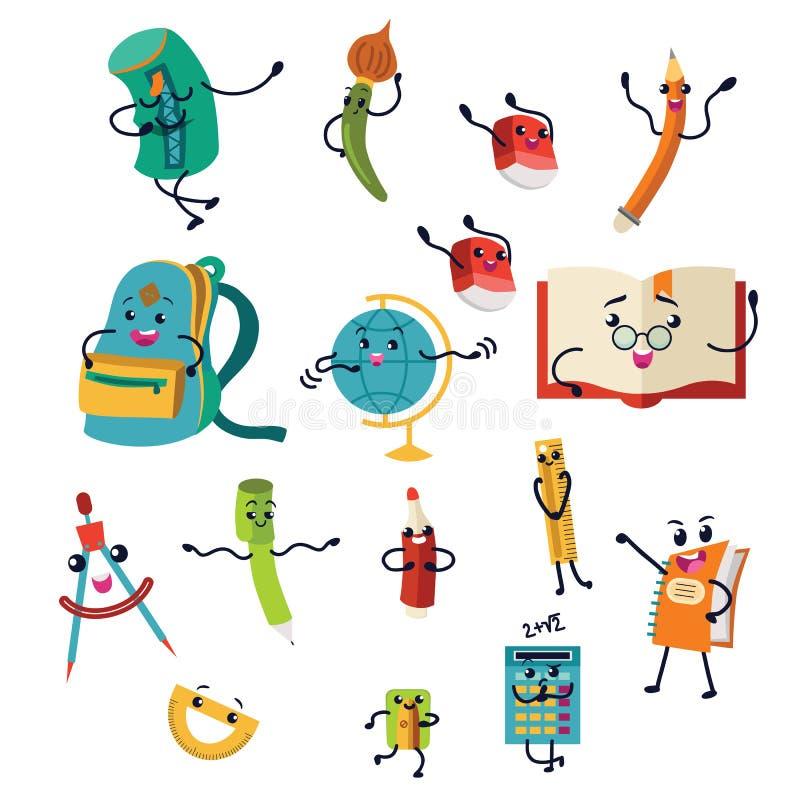 Schulmahlzeitsatz, Lebensmittelkästen und Kindertaschen vector Illustration lizenzfreie abbildung