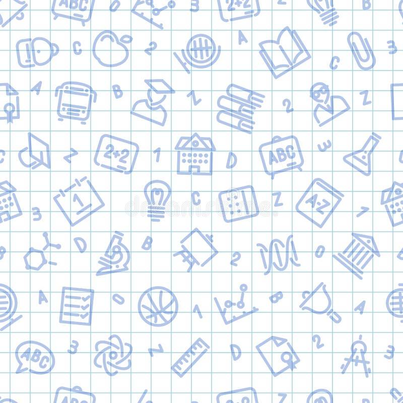 Schulnahtloses Muster auf dem quadratischen Blatt lizenzfreie abbildung