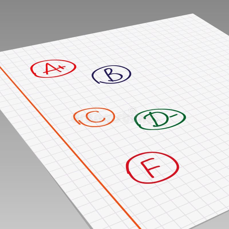 Schulnoten vektor abbildung