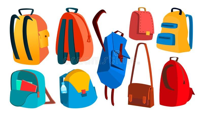 Schulrucksack-Satz-Vektor Bildungsgegenstand Kinderausrüstung Bunte Schultasche Lokalisierte Karikaturillustration stock abbildung
