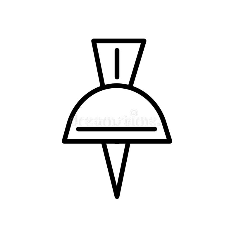 Schulstoß Pin-Ikonenvektor herein lokalisiert auf weißem Hintergrund, Schulstoß Pin-Zeichen, linearem Symbol und Anschlaggestaltu lizenzfreie abbildung