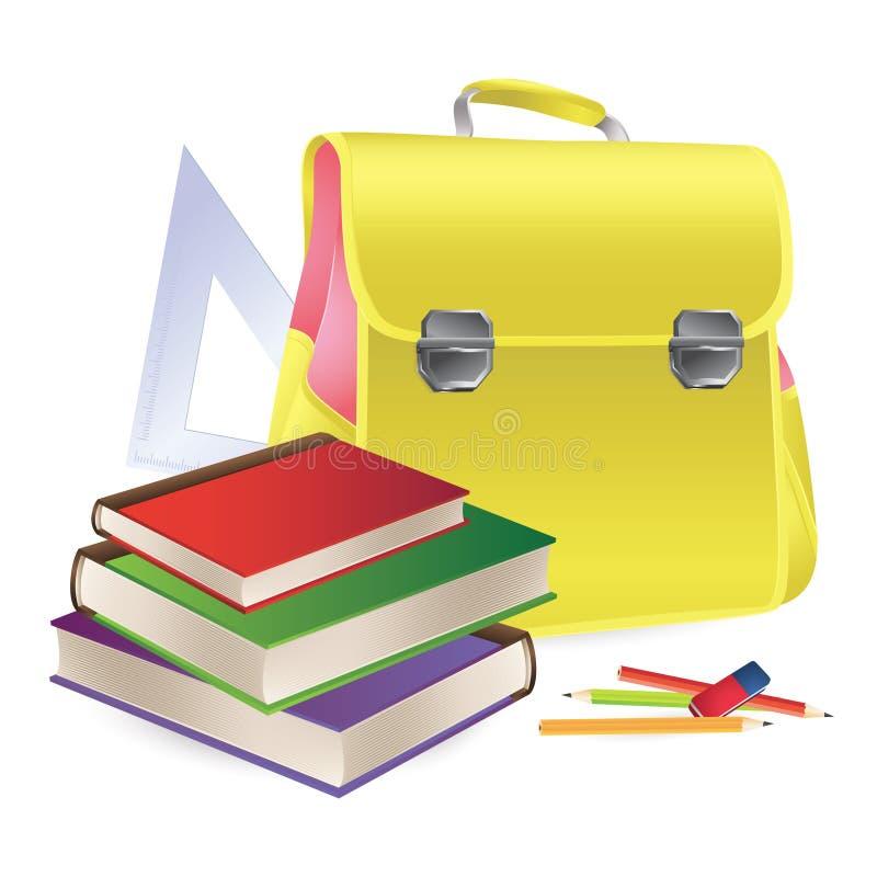 Schultasche mit Schulezubehör stock abbildung