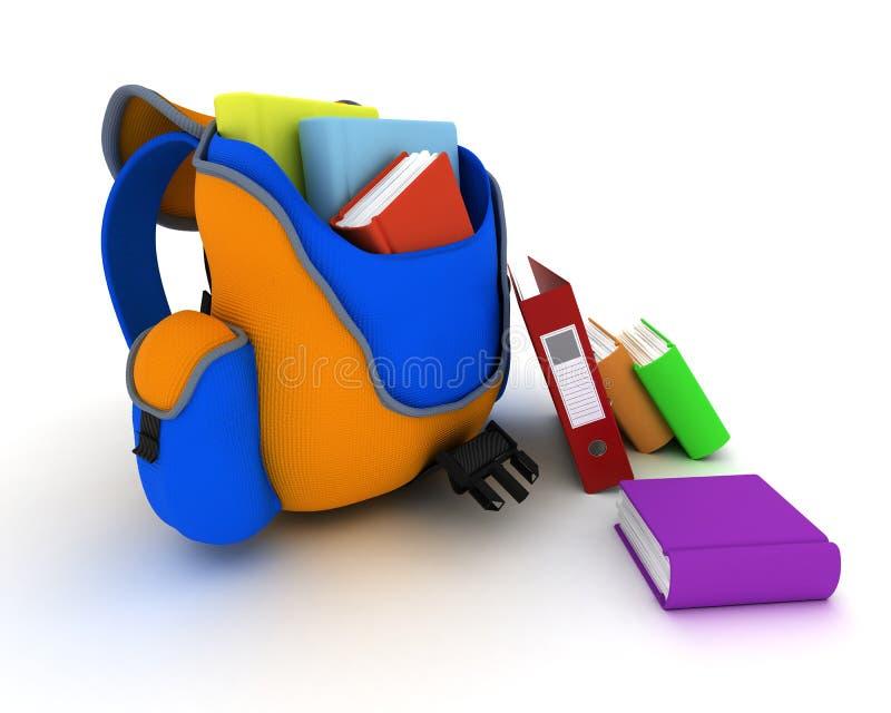 Schultasche und Bücher lizenzfreie abbildung