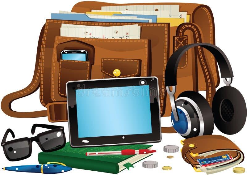 Schultasche und Einzelteile lizenzfreie abbildung
