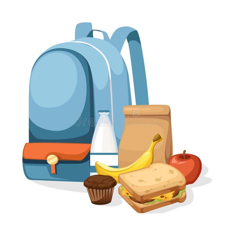 Schultasche- und Mittagessenpapiertüte mit Saft, Apfel und Sandwich Bereiten Sie braune Papiert?te auf Flache Vektorillustration  vektor abbildung