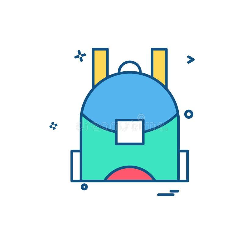 Schultascheikonen-Vektordesign lizenzfreie abbildung