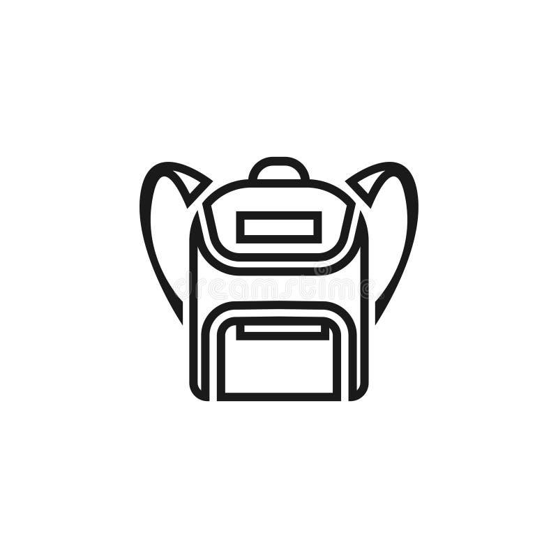 Schultascheikonenentwurfsschablonen-Vektorillustration lokalisierte stock abbildung