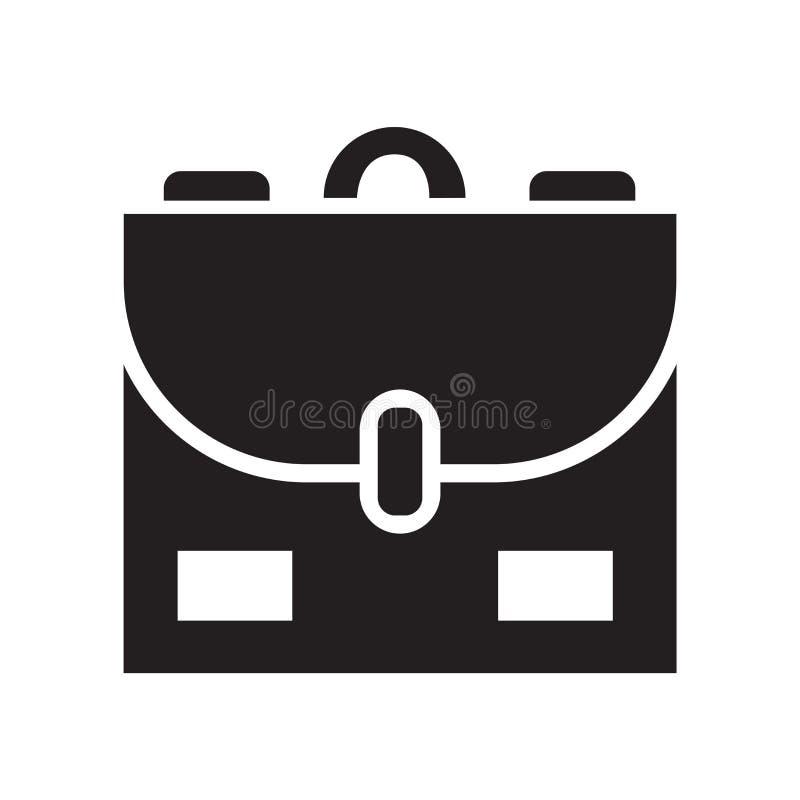 Schultascheikonenvektorzeichen und -symbol lokalisiert auf weißem backgro stock abbildung